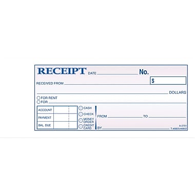 Adams General Purpose Receipt Books, 2-3/4in. x 7-1/18in., 2 Part