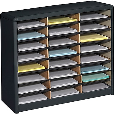 Safco® Light-Duty Value Sorter Literature Organizer with steel shell, 24 Compartment, Black