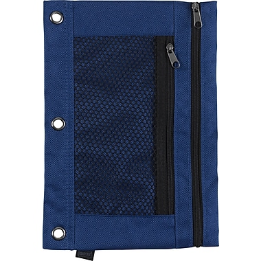 Staples 3-Ring Pencil Pouch, Blue