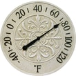 "Infinity Instruments® Blanc Fleur 15"" Round Thermometer, Antique White"