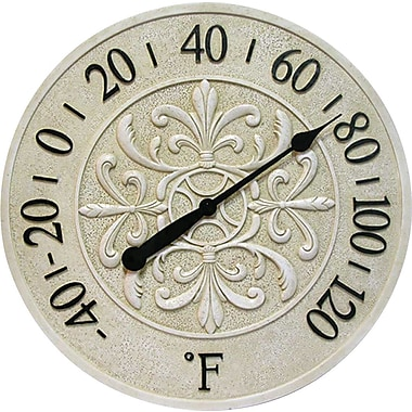 Infinity Instruments Blanc Fleur 15in. Round Thermometer, Antique White