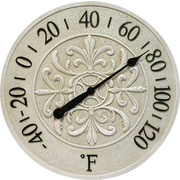 Infinity Instruments® Blanc Fleur 15 Round Thermometer, Antique White