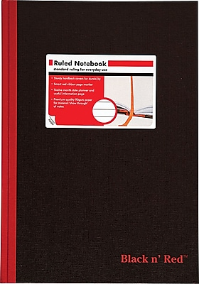 """""Black n' Red Case Bound Hardcover Business Notebook, 8 1/4"""""""" x 11 3/4"""""""", Black (D66174)"""""" 652466"