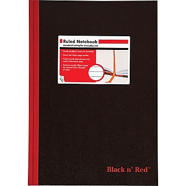 Black n' Red™ Case Bound Hardcover Business Notebook, 8 1/4