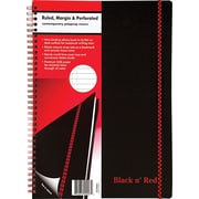 "Black n' Red™ Twin Wire Poly Cover Business Notebook, 8 1/4"" x 11 3/4"", Black (E67008)"