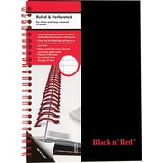 "Black n' Red™ Twin Wire Hardcover Business Notebook, 5 7/8"" x 8 1/4"", Black (L67000)"