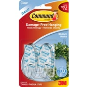 Command™ Clear Medium Hooks, Clear, 2/Pack