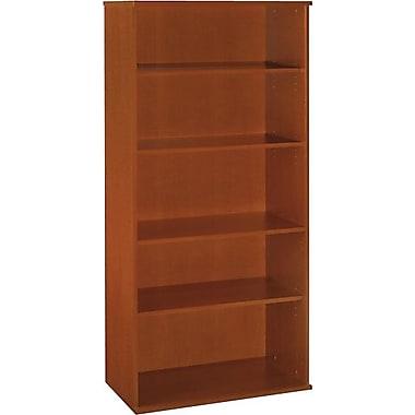 Bush Westfield 36in.W 5 Shelf Bookcase, Autumn Cherry, Installed