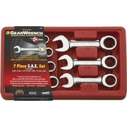"GearWrench® 7 Pieces 12 Point SAE Stubby Combination Ratcheting Wrench Set, 3/8"" - 3/4"""