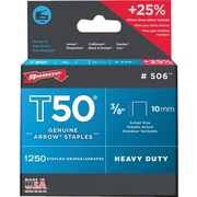 "Arrow Fastener T50® Staple, 3/8 in, 0.05"" Wire"