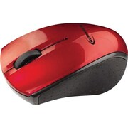 Innovera Wireless Mini Optical Mouse, Three Buttons, Red/Black