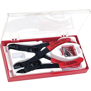 Proto® 18 Pieces Internal/External Replaceable Tip Retaining Ring Pliers Set, Straight Jaw, 6 1/4