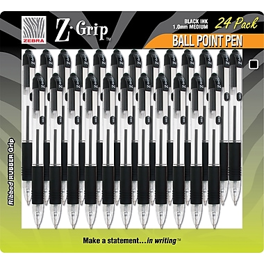 Zebra® Z-Grip® Retractable Ballpoint Pen, Medium Point, Black, 24/Pack