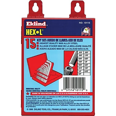 Eklind® Tool Hex-L® 18 Pieces Short Arm Hex Key Set, 0.028 - 5/8