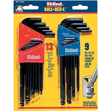 Eklind® Tool Ball-Hex-L™ 22 Pieces Hex Ball Long Arm Hex Key Set, 1.5 - 10 mm, 0.050 - 3/8in.