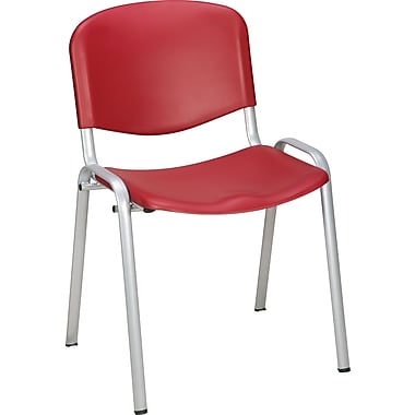 Staples Norwell Plastic Stacking Cafeteria Chair, Red