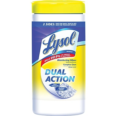 Lysol® DUAL ACTION Disinfecting Wipes, Citrus Scent, 75 Wipes/Tub