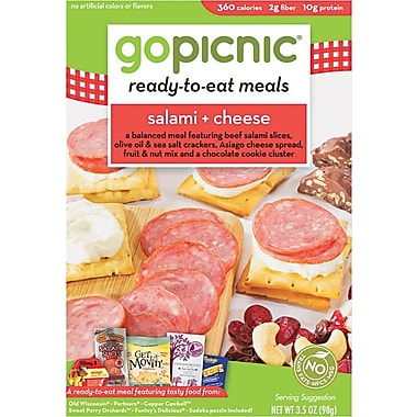 GoPicnic® Ready-To-Eat-Meals, Salami + Cheese, 3.5 oz. Packs, 6 Packs/Box