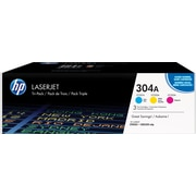 HP 304A (CF340A) Cyan, Magenta & Yellow Original LaserJet Toner Cartridges, 3/Pack