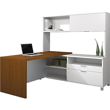 Bestar Pro-Linea L-Workstation w/ Hutch, White/Cognac Cherry