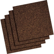 "Staples Frameless Dark Cork Tiles, 12"" x 12"", 4/Pk"