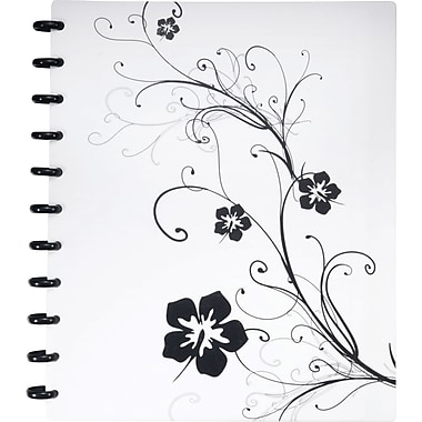 Staples® Arc Customizable Hibiscus Design Notebook System, Black & White, 9-3/8in. x 11-1/4in.