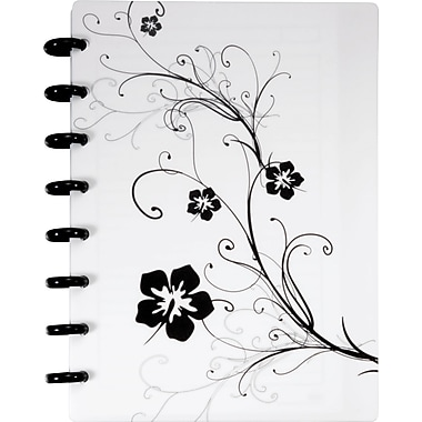 M by Staples™ Arc Customizable Hibiscus Design Notebook System, White & Black, 6-3/8in. x 8-3/4in.