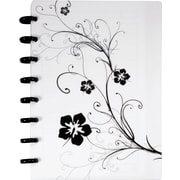 M by Staples Arc Customizable Hibiscus Design Notebook System, White & Black, 6-3/8 x 8-3/4
