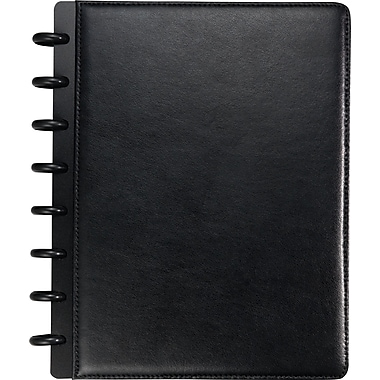 Staples® Arc Customizable Leather Notebook System, Black, 6-3/4