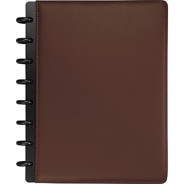 M by Staples™ Arc Customizable Leather Notebook System, Brown, 6-3/4in. x 8-3/4in.