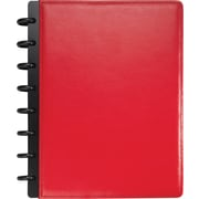 M by Staples™ Arc Customizable Leather Notebook System, Red, 6-3/4 x 8-3/4