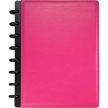 M by Staples™ Arc Customizable Leather Notebook System, Pink, 6-3/4in. x 8-3/4in.