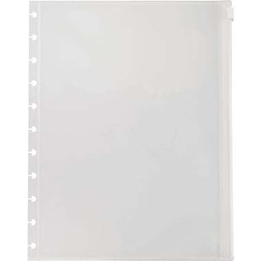 Staples® Arc System Poly Zip Pockets, Clear, 8-1/2