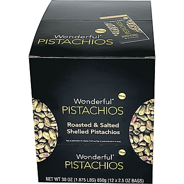 Wonderful Shelled Pistachios, 2.5 oz., 12 Bags/Box