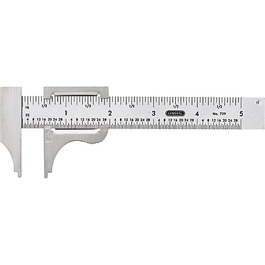 General® Tools Pocket Slide Caliper, 1/16in. and 1/32in. Graduations, Stainless Steel, 0 - 4in.