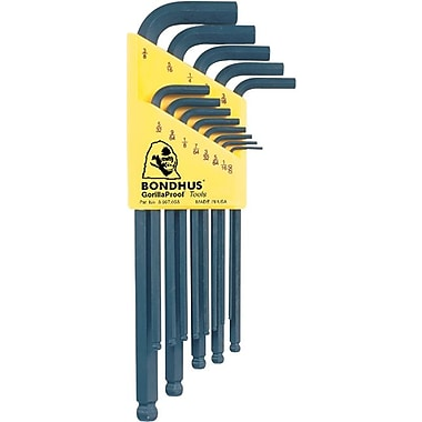 Bondhus® 13 Pieces Ball End Long Length Hex Key Set, 0.05 - 3/8in.