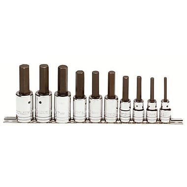 Proto® 10 Pieces Ball Locking Socket Hex Bit Set, 1/2 in Square Drive