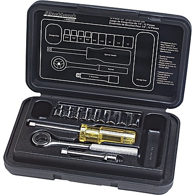 Blackhawk® 12 Pieces 6 Point Standard Socket Set, 1/4 in Square Drive