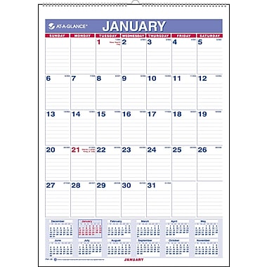 2013 AT-A-GLANCE® Recycled Monthly Wall Calendar, 8in. x 11in.