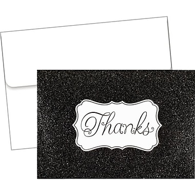 Great Papers­­® Glitzy Black Glitter Thank You Notes with Envelopes