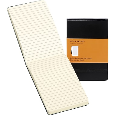 Moleskine Reporter Notebook, Pocket, Ruled, Black, Hard Cover, 3-1/2in. x 5-1/2in.