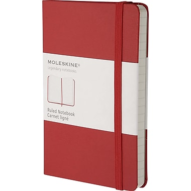 Moleskine Classic Notebook, Pocket, Ruled, Red, Hard Cover, 3-1/2in. x 5-1/2in.