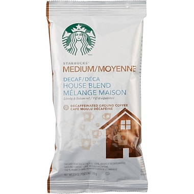 Starbucks House Blend Ground Coffee, Decaffeinated, 2.5 oz., 18 Packets