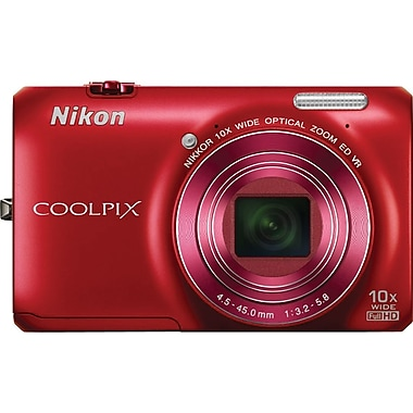 Nikon Coolpix S6300 Digital Camera, Red