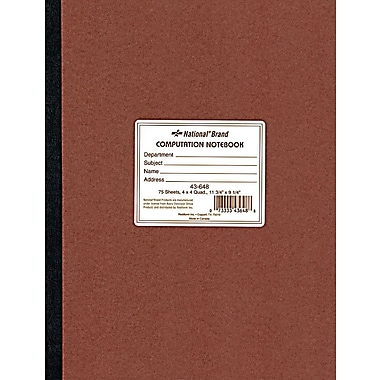 National® Brand Quad Ruled Computation & Lab Notebook, 9-1/4in. x 11-3/4in.
