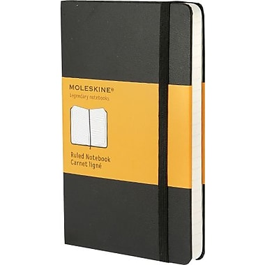 Moleskine Classic Notebook, Pocket, Ruled, Black, Hard Cover, 3-1/2