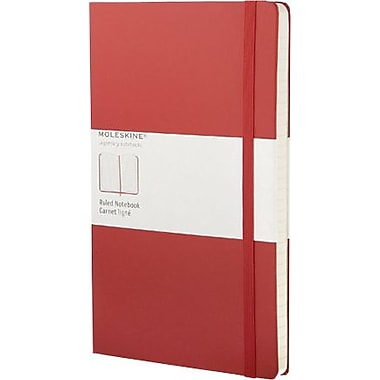 Moleskine Classic Notebook, Large, Ruled, Red, Hard Cover, 5
