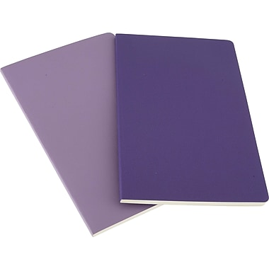 Moleskine Volant Notebook, Set of 2, Large, Ruled, Light Violet, Brilliant Violet, Soft Cover, 5in. x 8-1/4in.