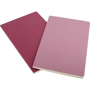 Moleskine Volant Notebook, Set of 2, Large, Ruled, Pink Magenta, Magenta, Soft Cover, 5in. x 8-1/4in.