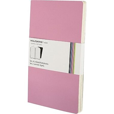 Moleskine Volant Notebook, Set of 2, Large, Ruled, Pink Magenta, Magenta, Soft Cover, 5